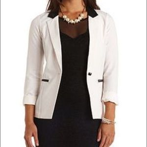 NWT- Faux Leather Accented White Blazer